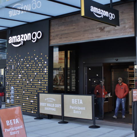 The prototype Amazon Go store at Day One, Seattle, Washington. Photo courtesy of Wikipedia user SounderBruce.